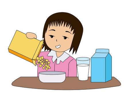 carton de leche: Sleepy ni�o comiendo el desayuno