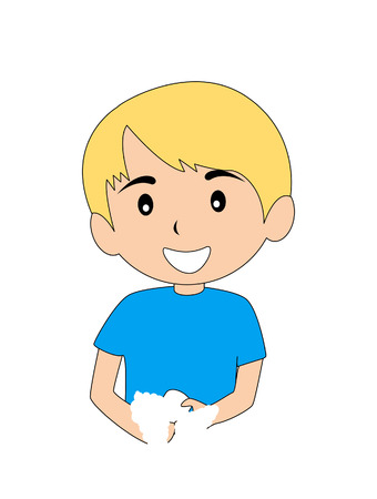 Boy washing his hands Stock Vector - 2649513