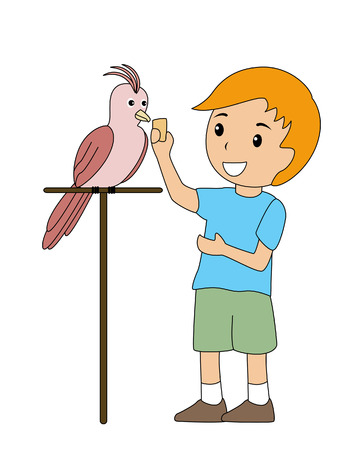 feeding: Boy with Pet Parrot Illustration