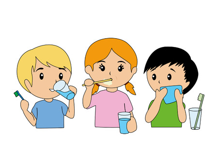 Children Brushing Teeth Vector