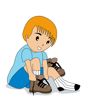 Boy tying shoelaces Stock Vector - 2649520