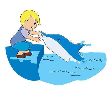 Boy jugando con los delfines  Ilustración de vector