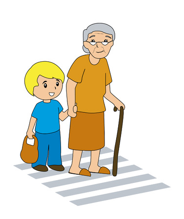 Boy Helping Grandma Illustration