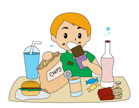 healthy habits: Boy comer comida basura