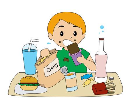 """kid eat: Boy mangiare cosiddetto """"cibo spazzatura"""""""