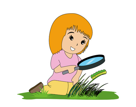looking: Girl with Magnifying Glass