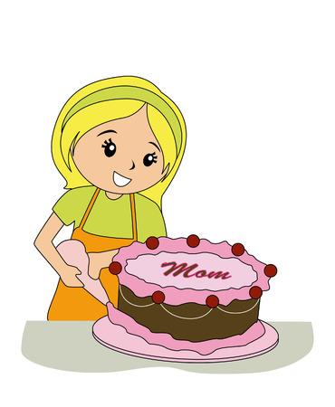 cake decorating: Girl Decorating Cake for Mom Illustration