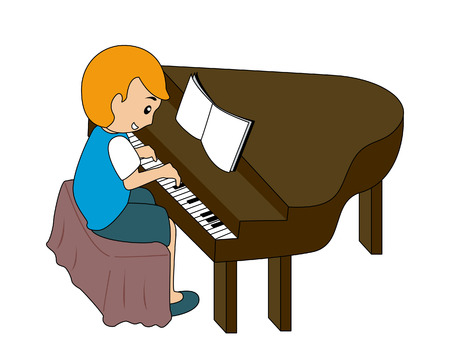 Child playing Piano Vector