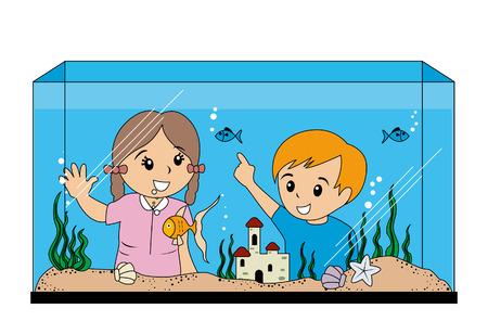 Children looking at Aquarium Illustration