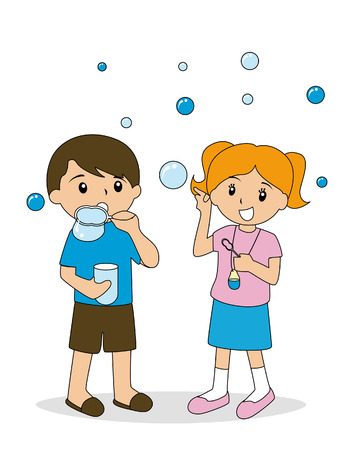 blowing bubbles: Children blowing bubbles