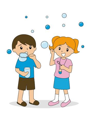kid vector: Los ni�os soplando burbujas  Vectores