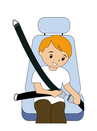 Boy fastening seatbelt Illustration