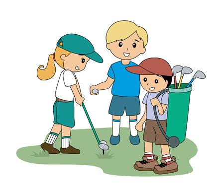 Children playing Golf Vector