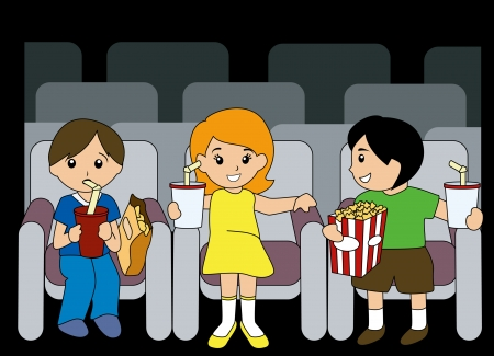 Illustration of Children inside Movie House Stock Vector - 2649547