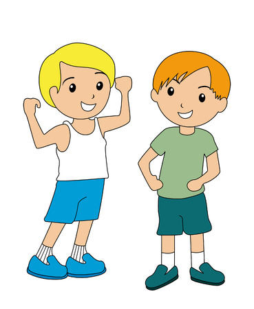 Boy Showing off his MUscles Stock Vector - 2649521