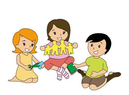 scissors cutting: Children playing with Paper