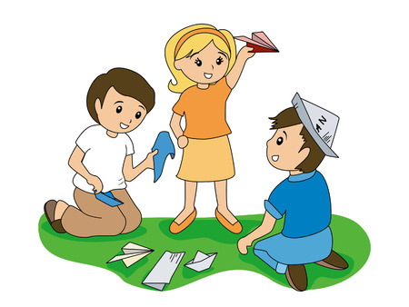 Children and Folding Papers Vector