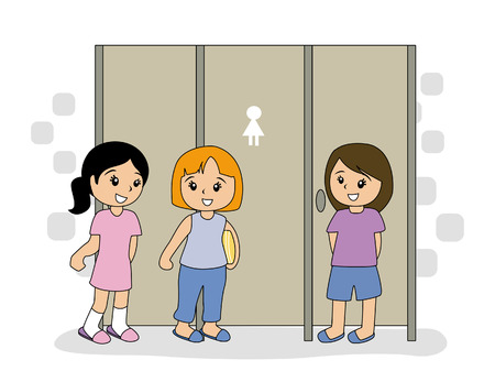 Girls in Public TOilet Stock Vector - 2649544