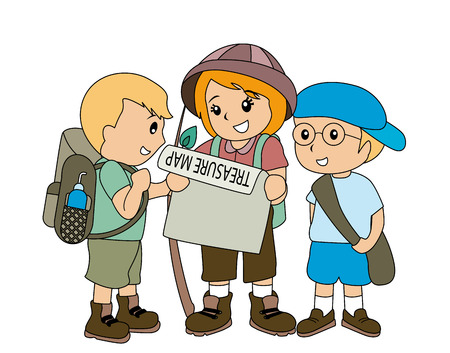 Children with Treasure Map Stock Vector - 2649512