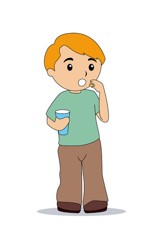healtcare: Boy taking Vitamins