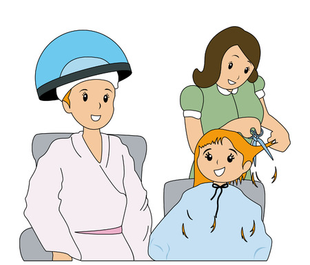 hair treatment: Mother and Daughter at the Parlor