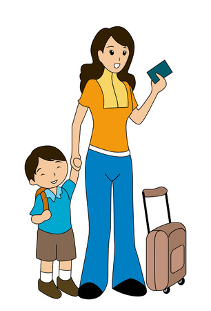 people travelling: Mother and Son at the Airport