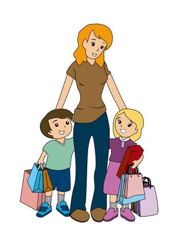 ni�os de compras: Madre y el Ni�o de compras