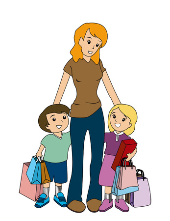Mother and Children Shopping Vector