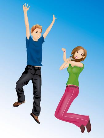 Illustratie van een jongen en een meisje Jumping Vector Illustratie