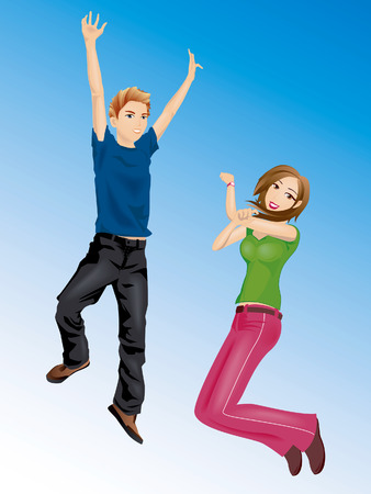 woman jump: Illustration of a Boy and a Girl Jumping