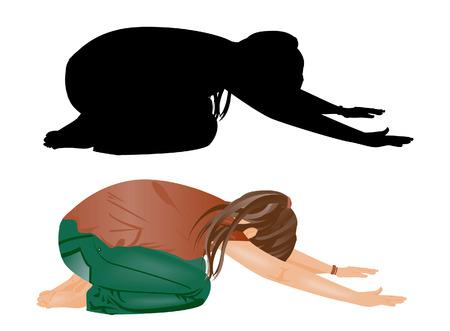 solemn: Chica doblegarse - detallada y Silhouette  Vectores