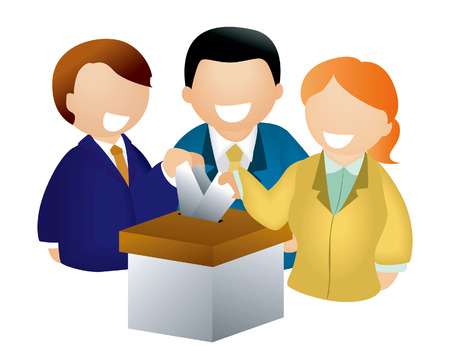 Votes and Ballot Box Illustration