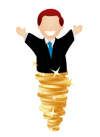 Man on top of Gold Coins Vector