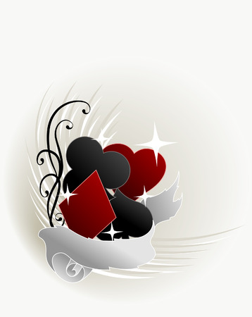 Card Suits Design with Ribbon Vector