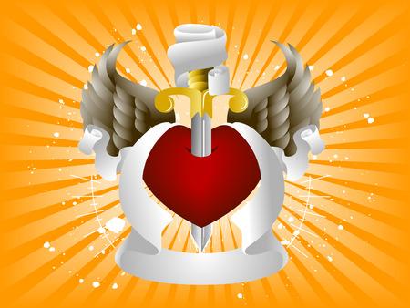 corazon con alas: Coraz�n, Alas y Cintas elementos de dise�o Vectores