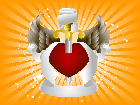 Heart, Wings and Ribbons Design Elements Vector