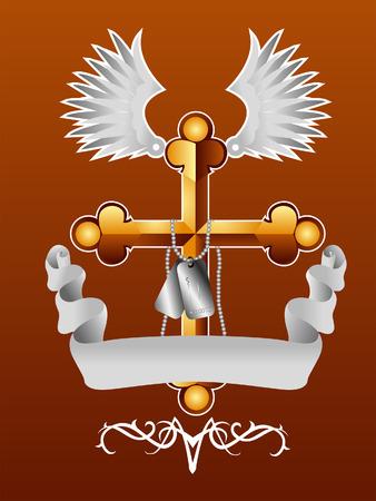 cross and wings: Cruz, alas y elementos de dise�o Ribbon  Vectores
