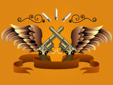 Winds, Ribbon and Guns Design Elements Stock Vector - 2765420