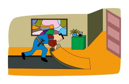 flooring: Man Flooring Illustration