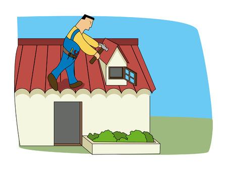 diy home repair: Fixing Roof Illustration