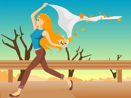 Illustration of a Girl Walking