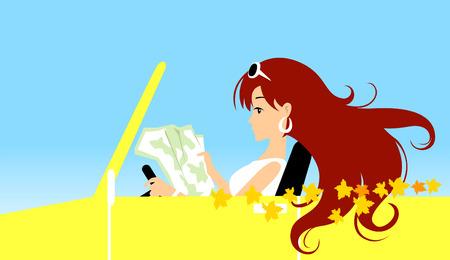 Ilustración de una niña de conducción  Ilustración de vector