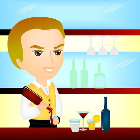bartender: Illustration d'un bar au travail
