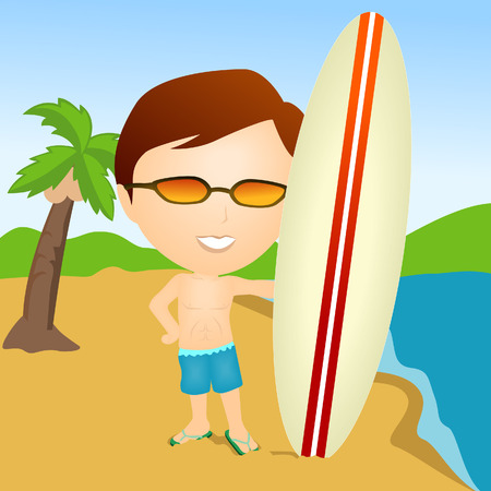 surfer vector: Illustration of a Surfer at the Beach