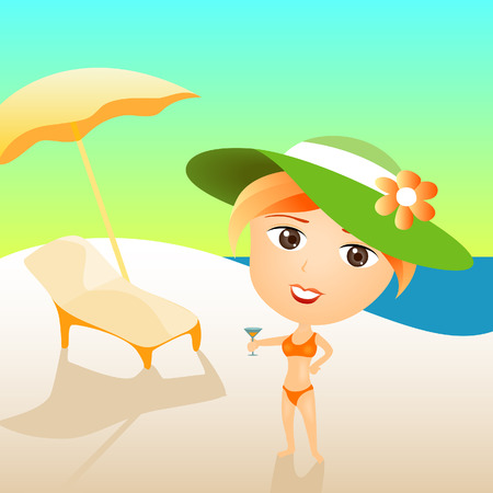 Illustration of a Woman at the Beach Vector