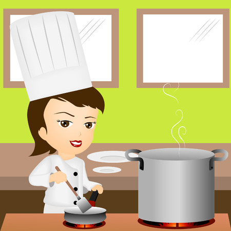 chef cooking: Illustration of a Chef Cooking Illustration