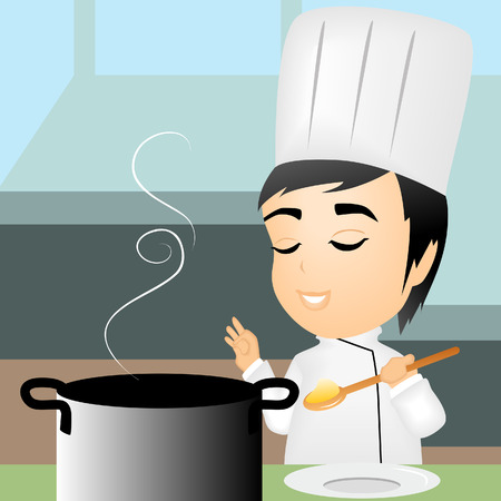 Illustration of a Chef tasting food