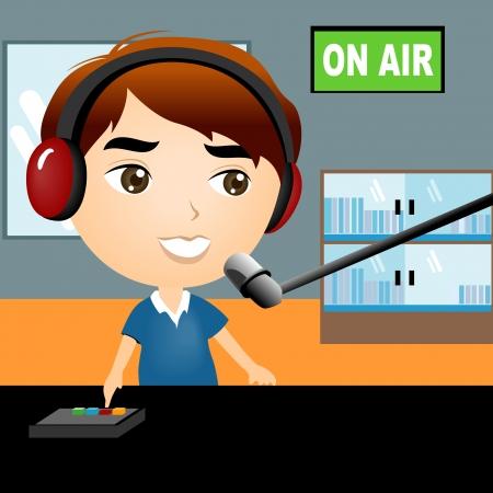 microfono radio: Ilustraci�n de un disco Jock