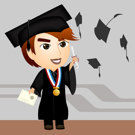 cap and gown: Illustration of a Graduate