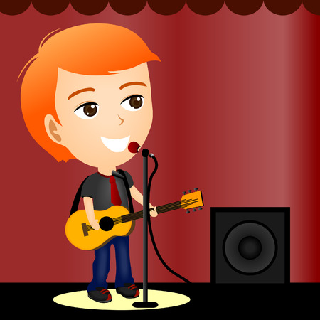 Illustration of a Boy Playing the guitar Illustration